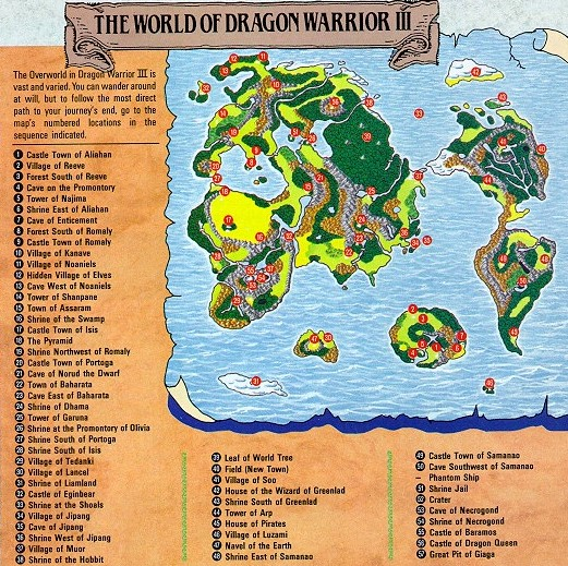 dw maps page Dragon Warrior Map on
